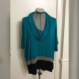 BOBEAU teal knit blouse with cowl neck.